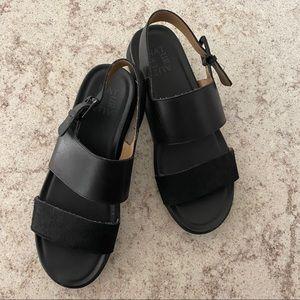 NATURALIZER leather calf hair emory wedge sandal